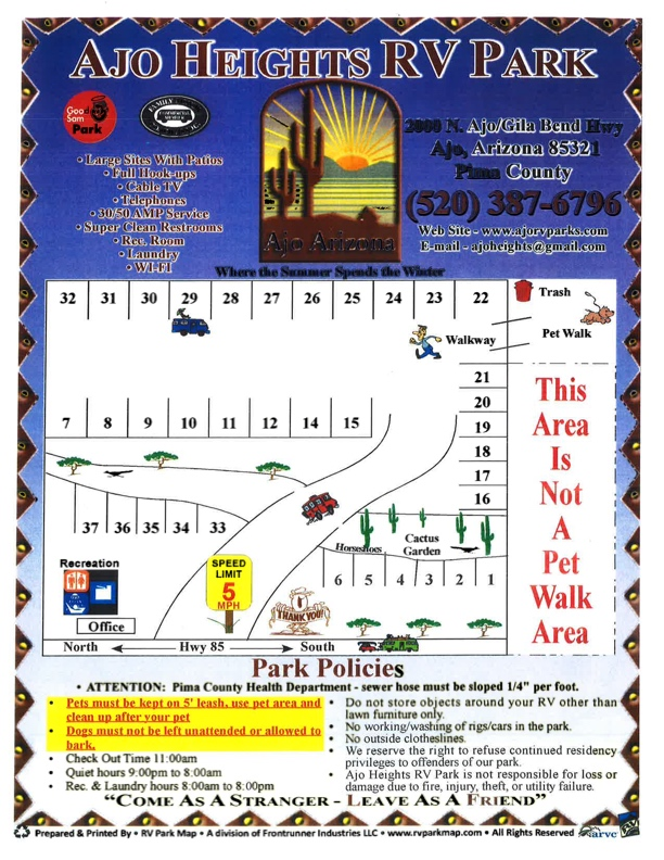 Ajo Heights RV Park Site Map